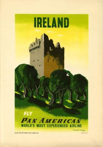 Ireland, Castle, Pan American airline Vintage Air Travel Poster Print, Blarney, Kilcash,Castle Ross?